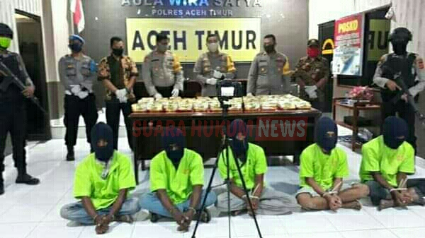 Polres Aceh Timur Tangkap 5 Nelayan, Simpan Sabu 45 Kg Di Tambak