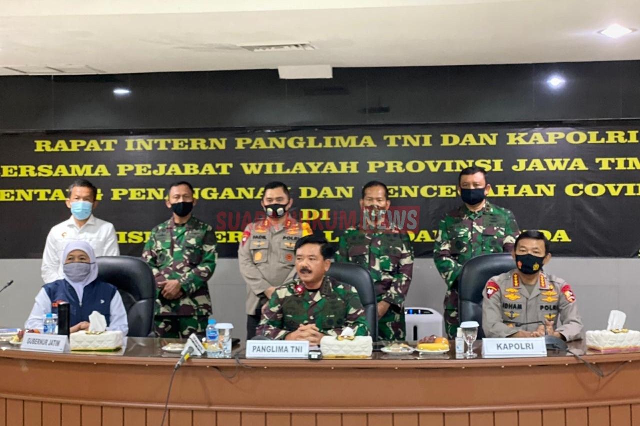Rapat Penanganan Covid-19 Di Prov.Jawa Timur, Dipimpin Langsung Oleh Panglima TNI Dan Kapolri