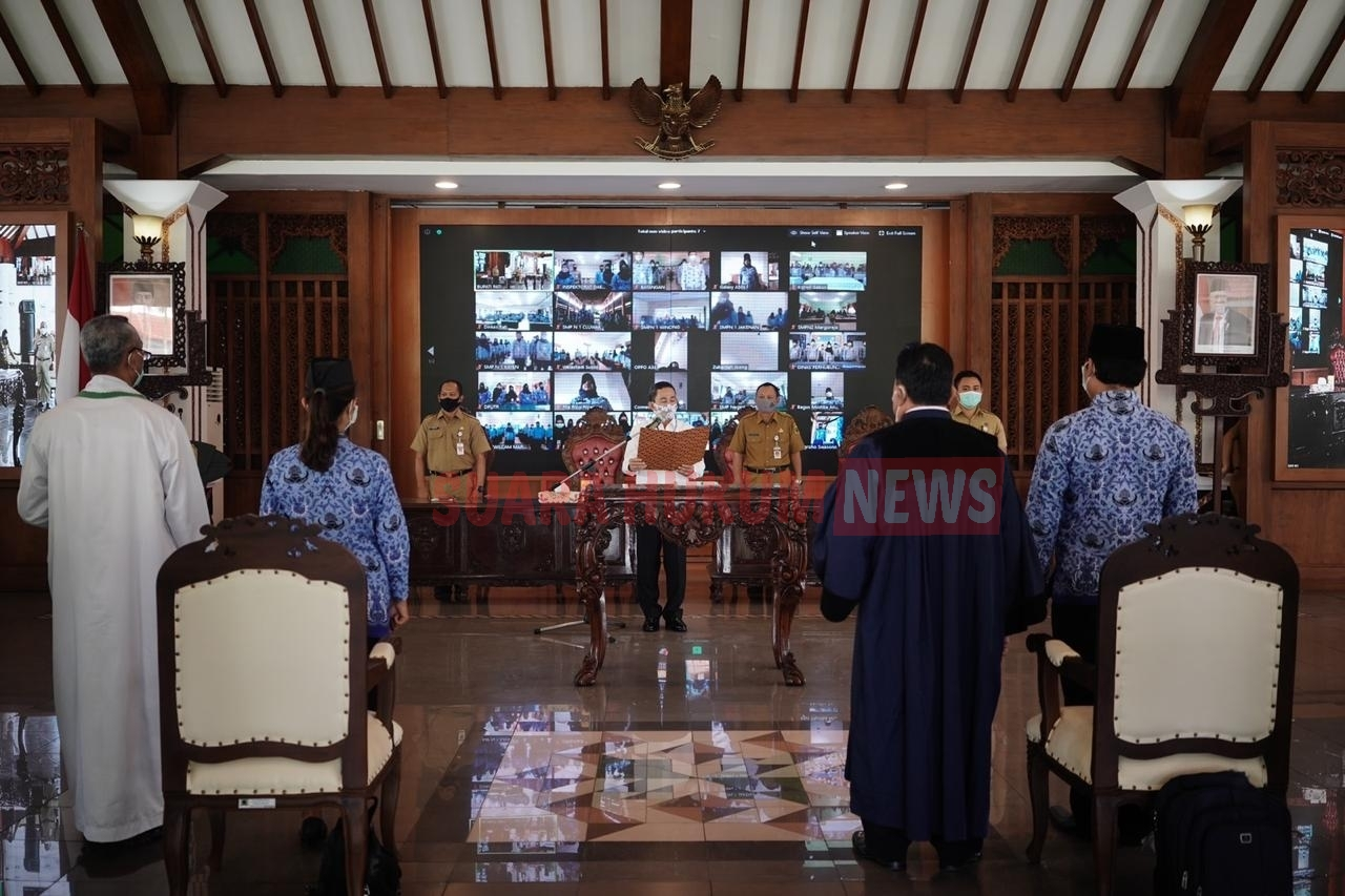 Dimasa Pandemi Covid-19, Sumpah Janji PNS Dilaksanakan Secara Virtual Di Aula Pendopo Kabupaten Pati
