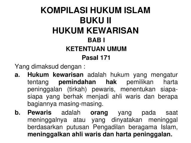 Pembagian Waris Menurut Kompilasi Hukum Islam Sesuai Porsinya