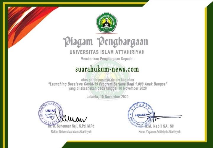 Media Suarahukum-News Terima Piagam Penghargaan Dari Universitas Attahariyah, Jakarta