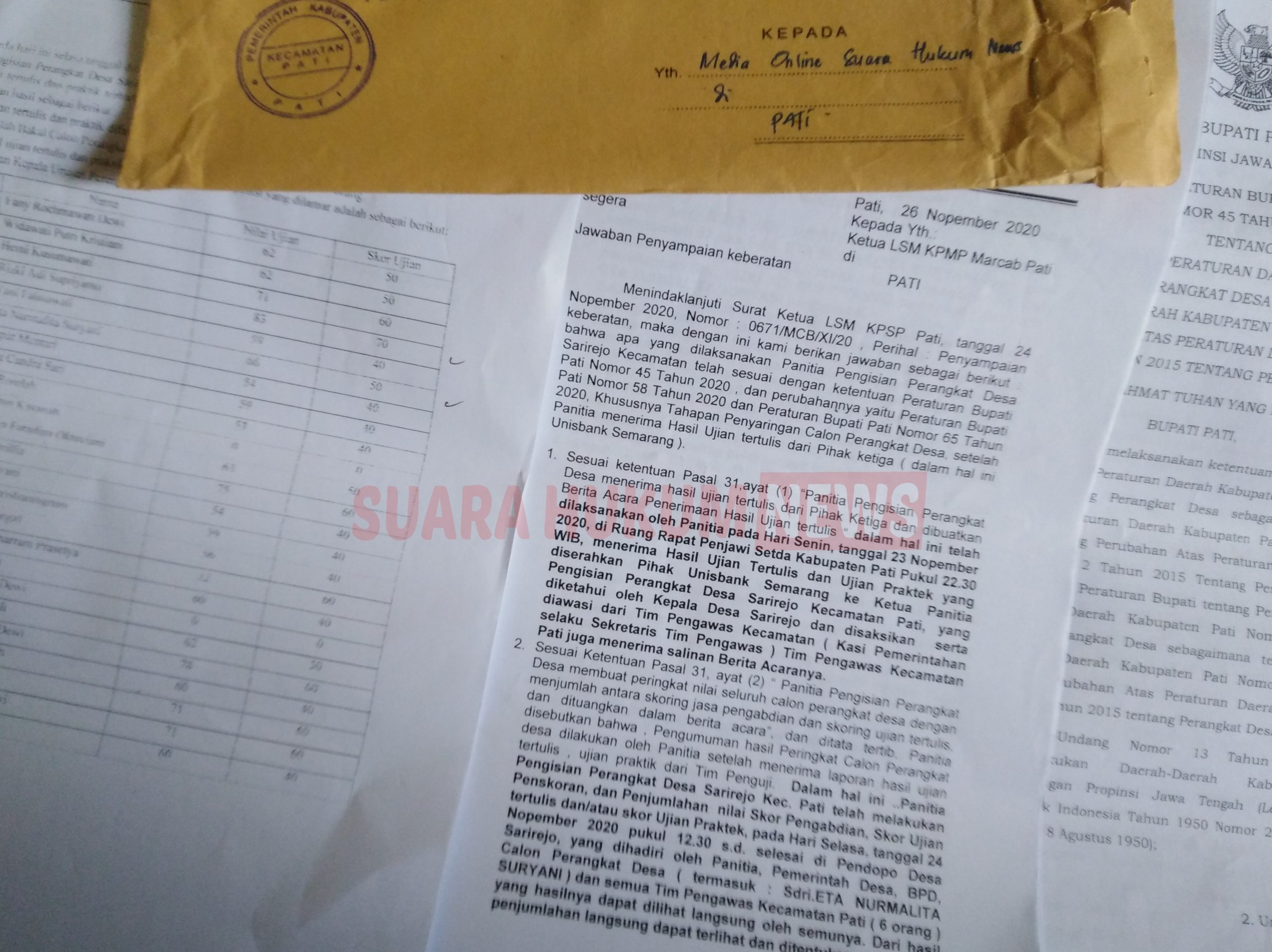 Dinilai Terburu-Buru Putuskan Skor, ENS Sampaikan Surat Keberatan Pada Panitia Pengisian Perangkat Desa Sarirejo
