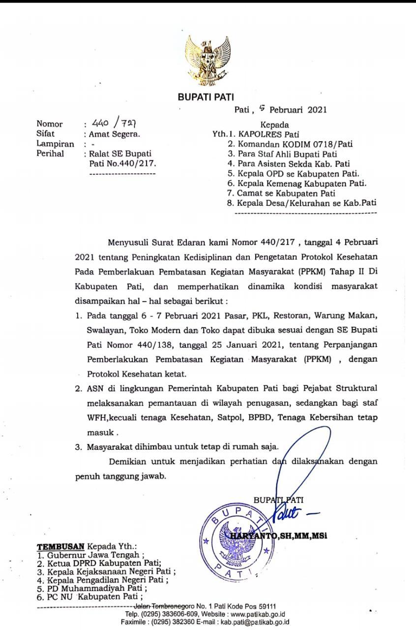 Jawab Keresahan Masyarakat, Bupati Pati terbitkan Surat Edaran Bupati No.440/727